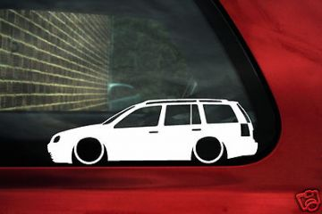 2x LOW Mk4 Golf Estate wagon 1.8t, TDi, 20v turbo,4 motion, outline silhouette stickers, Decals .